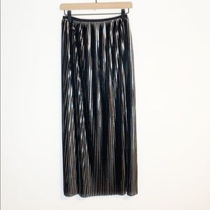 Zara Metallic Pleated Maxi Skirt w/ Side Slit